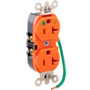 Leviton 8300-Lig 20a, 125v, Slim Body Duplex Receptacle, Orange - Min Qty 10