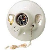Leviton 9726-C2 Med Base 1 Piece Glazed Porcelain Outlet Bx Mount Incandescent Lampholder-Min Qty 24