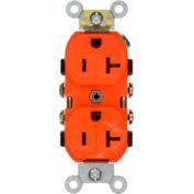 Leviton CR20-O 20A, 125V, Duplex Receptacle, Self Grounding, Orange