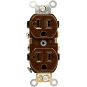 Leviton CR20-S 20 Amp, 125 Volt, NEMA 5-20R, 2P, 3W, Duplex Receptacle, Brown