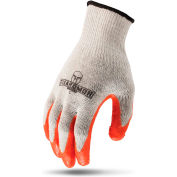 Lift Safety Latex Palm Coated Glove, White/Orange, Large, 12 Pairs/Pkg, G15MCL-WL