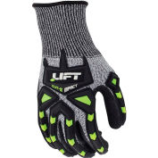 Lift Safety Chem-5 Cut Resistant Impact Latex Coated Gloves, HiVis/Gray, M, 1 Pair, GFT-13KM
