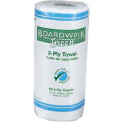 "Boardwalk Green 2-Ply Perforated Household Roll Towels 11"" x 9"", 90 Sheets/Roll 30/Case - BWK21GREEN"