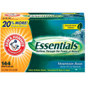 Arm & Hammer Essentials™ Fabric Softener Sheets, 6 Sheets/Box 24/Case - CHU3320014995