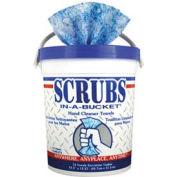 "Scrubs® Hand Cleaner Towels 10-1/2"" x 12-1/4"", Blue/White 72 Wipes/Bucket 6/Case - ITW42272CT"
