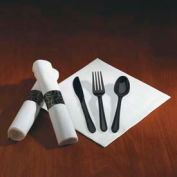 Hoffmaster® HFM119971, Caterwrap Cutlery Combo, Plastic, Black, 100/Carton