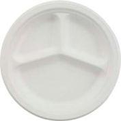 """Chinet® HUHVISTA, 3-Comp. Classic Paper Plates, 9 1/4"""" Dia., White, 500/Carton"""