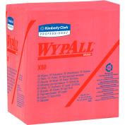 "Wypall X80 Hydroknit Wipes 1/4 Fold 12-1/2' x 13"", Red 50 Wipes/Pack 4/Case - KIM41029"