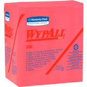 "Wypall X80 Hydroknit Wipes 1/4 Fold 12-1/2' x 13"", Red 50 Wipes/Pack 4/Case - KIM41029"