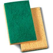 Medium Duty Scrubbing Sponge, Yellow/Green, 20 Sponges