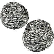 """Premiere Stainless Steel Scrubbers 2-1/2"""" x 2-3/4"""", Steel Gray 12/Case - PMP50"""