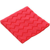 """Rubbermaid® HYGEN Microfiber Cleaning Cloths 12"""" x 12"""", Red 12/Case - RCPQ620RED"""