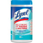 "Lysol Disinfecting Wipes Fresh Scent 7"" x 8"", White 80 Wipes/Can 6/Case - RAC77925CT"