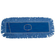 "18"" x 5"" Looped-End Cotton/Synthetic Fiber Dust Mop Head, Blue - BWK1118"