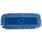 "18"" x 5"" Looped-End Cotton/Synthetic Fiber Dust Mop Head, Blue - BWK1118"