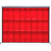 """ST Drawer Layout, 24 Plastic Boxes 3"""" H"""
