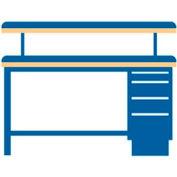 72x30x47.25 Cabinet & Leg workstation w/4 drawers, adj. riser shelf/static dis. top