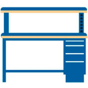 60x30x52.5 Cabinet & Leg workstation w/4 drawers, powered riser shelf/plastic laminate top
