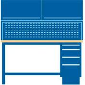 60x30x64.75 Cabinet & Leg workstation w/4 drawers, stat. riser shelf, 2 ovhd cabs/butcher block top