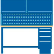 60x30x64.75 Cabinet & Leg workstation w/4 drawers, stat. riser shelf, 2 ovhd cabs/plastic lam. top