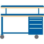 72x30x49.25 Cabinet & Leg mobile workbench w/4 drawers, adj. riser shelf/plastic laminate top