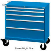 "Lista 40-1/4""W Mobile Cabinet, 5 Drawers, 63 Compart - Bright Blue, Master Keyed"
