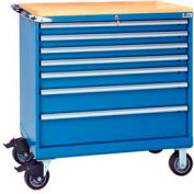 """Lista® 7 Drawer 40-1/4"""" Shallow Depth Mobile Cabinet w/Butcher Top-Bright Blue, Keyed Alike"""