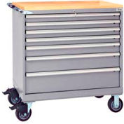"""Lista® 7 Drawer 40-1/4""""W Shallow Depth Mobile Cabinet w/Butcher Top-Light Gray, Master Keyed"""