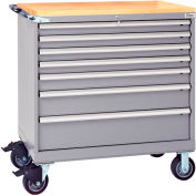 """Lista® 7 Drawer 40-1/4""""W Shallow Depth Mobile Cabinet w/Butcher Top-Gray, Individual Lock"""