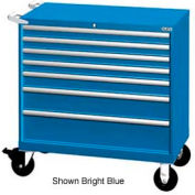 "Lista 40-1/4""W Mobile Cabinet, 7 Drawers, 94 Compart - Bright Blue, Keyed Alike"