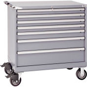 "Lista® 7 Drawer 40-1/4""W Shallow Depth Mobile Cabinet - Gray, Individual Lock"