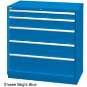"Lista 40-1/4""W Drawer Cabinet, 5 Drawer, 51 Compart - Bright Blue, Master Keyed"