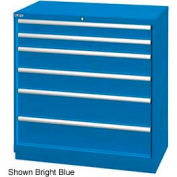 "Lista 40-1/4""W Drawer Cabinet, 6 Drawer, 66 Compart - Bright Blue, Individual Lock"