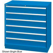 "Lista 40-1/4""W Drawer Cabinet, 6 Drawer, 72 Compart - Bright Blue, Keyed Alike"