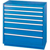 Lista® 7 Drawer Shallow Depth Cabinet - Bright Blue, Keyed Alike