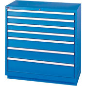Lista® 7 Drawer Shallow Depth Cabinet - Bright Blue, Individual Lock