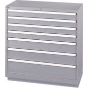 Lista® 7 Drawer Shallow Depth Cabinet - Light Gray, Individual Lock