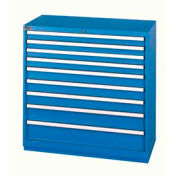 Lista® 9 Drawer Shallow Depth Cabinet - Bright Blue, Keyed Alike