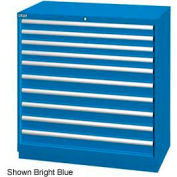 "Lista 40-1/4""W Drawer Cabinet, 10 Drawer, 162 Compart-Bright Blue, Individual Lock"