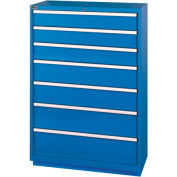 Lista® 7 Drawer Shallow Depth Cabinet - Bright Blue, Individual Lock