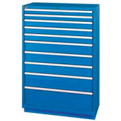 Lista® 10 Drawer Shallow Depth Cabinet - Bright Blue, Keyed Alike