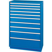 Lista® 10 Drawer Shallow Depth Cabinet - Bright Blue, Individual Lock