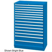 "Lista 40-1/4""W  Cabinet, 14 Drawer, 222 Compart - Bright Blue, Keyed Alike"