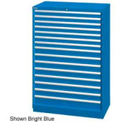 "Lista 40-1/4""W  Cabinet, 15 Drawer, 243 Compart - Bright Blue, Keyed Alike"