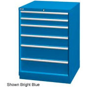 "Lista 28-1/4""W Drawer Cabinet, 6 Drawer, 74 Compart - Bright Blue, No Lock"