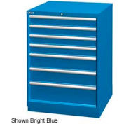 "Lista 28-1/4""W Drawer Cabinet, 7 Drawer, 156 Compart - Bright Blue, Keyed Alike"