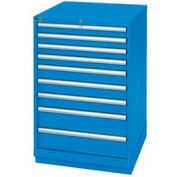 Lista® 9 Drawer Standard Width Cabinet - Bright Blue, Keyed Alike