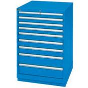 Lista® 9 Drawer Standard Width Cabinet - Bright Blue, Master Keyed