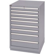 Lista® 9 Drawer Standard Width Cabinet - Gray, Individual Lock