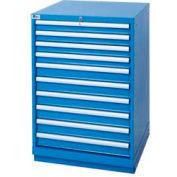 Lista® 10 Drawer Standard Width Cabinet - Bright Blue, Keyed Alike